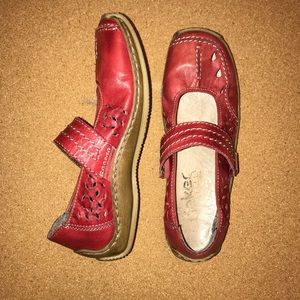 rieker antistress red soft leather size 37 shoes